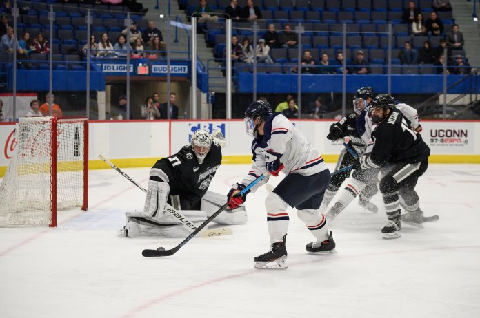 In the entire weekend, UConn had more power-play goals than Providence, but UConn also had a man advantage for almost six more minutes than the Friars.  Photo by Kevin Lindstrom/The Daily Campus