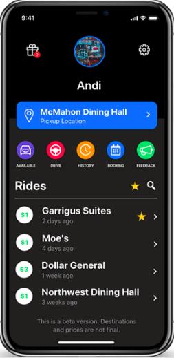 The beta interface of the newly launched GogoDoggo ridesharing app.  All photos courtesy of Andi Duro.