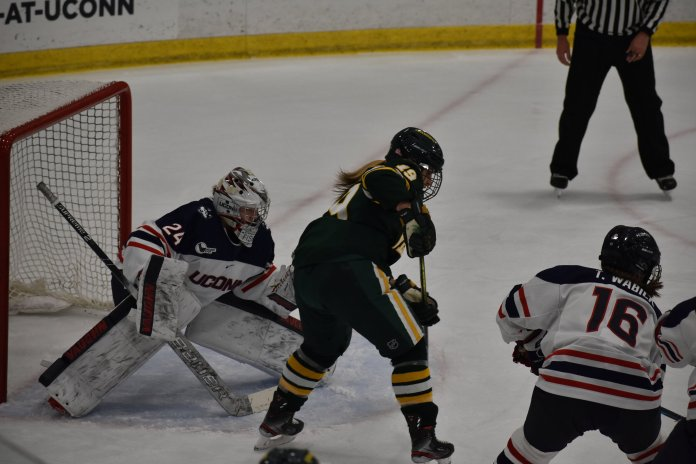 The UConn's women's hockey team finished with a tie of 2-2 against the University of Vermont at the Freitas Ice Forum Friday, Nov. 29. The Huskies picked up a point with the tie, and pushed their unbeaten streak to three games.  Photo by Sofia Sawchuk/The Daily Campus