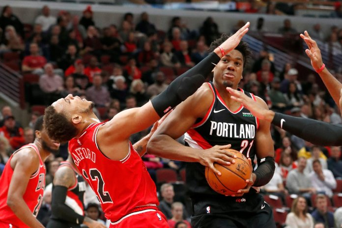The Portland Trailblazers have been struggling this season, but a mid-season tournament could provide the spark this team needs to turn the season around.  Photo from the Associated Press.