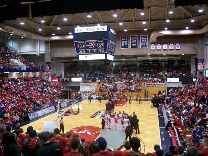 The nearly sold-out A.J. Palumbo Center on February 21st against the Dayton Flyers.  Photo via Daniel Kemp in the   public domain