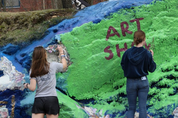"""""""We have a joke that HArCo is really HArCoCo, the humanities, arts, and conspiracy collective,"""" third-semester art major Mia Ruefenacht said.  Photos courtesy of author."""