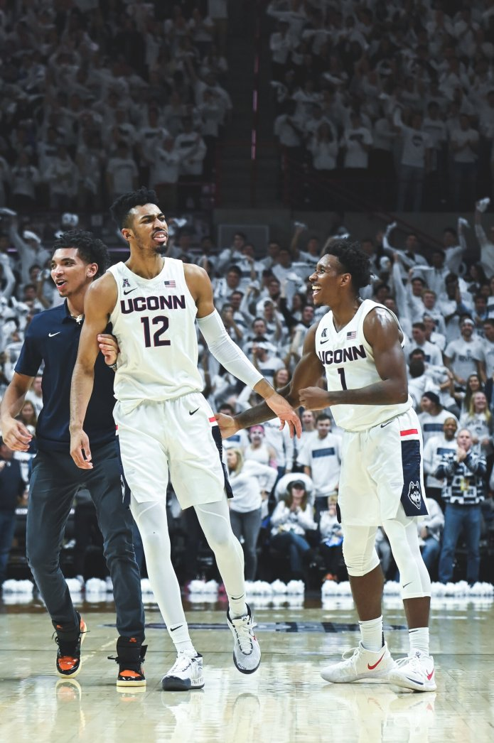 In this file photo, the UConn Men's Basketball team played against the Florida Gators on Nov. 17, 2019. The Huskies were victorious in Sunday's win against the University of New Hampshire, 88-62.  Photo by Charlotte Lao / The Daily Campus
