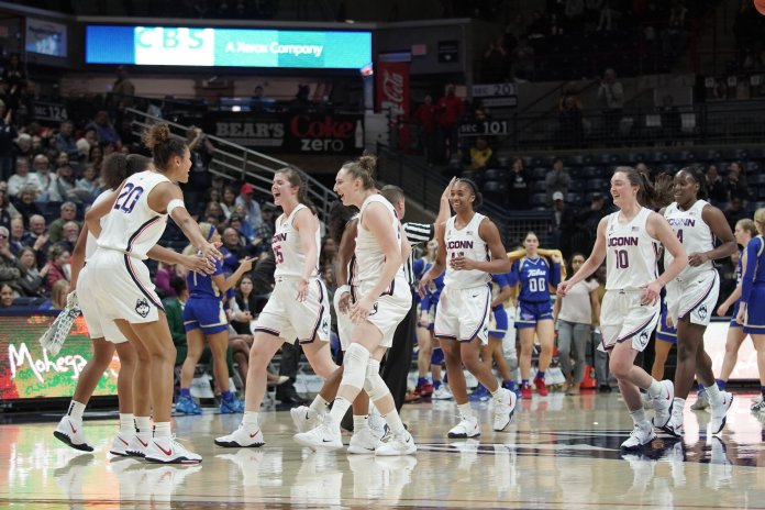 It was a complete effort from the Huskies against Tulsa, as they racked up their most bench points of the season.  Photo by Eric Wang/The Daily Campus.