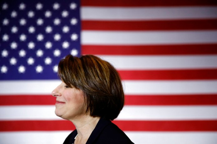 Democratic presidential candidate Sen. Amy Klobuchar, D-Minn., visits with attendees after speaking at a campaign event, Friday, Jan. 10, 2020, in Cedar Rapids, Iowa.  Photo by Patrick Semansky/AP Photo