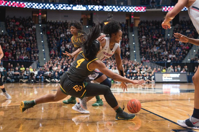 UConn's 74-58 lost to Baylor in early January, which was UConn's first loss since its NCAA semi-final loss to Notre Dame last year. UConn women's basketball's Christyn Williams dribbles past Baylor's Te'a Cooper.  Photo courtesy of Charlotte Lao, Photo Editor/The Daily Campus