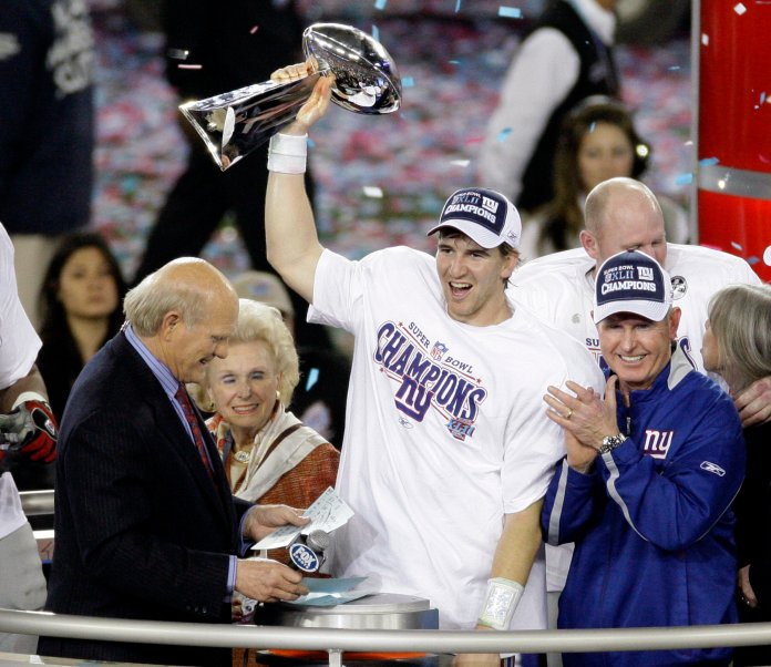 Manning's Super Bowl victory against the undefeated Patriots will go down as one of the best. Performances like these are what have him as a hopeful Hall of Famer.  Photo courtesy of The Associated Press.