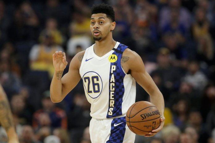 Indiana Pacers guard Jeremy Lamb (26) dribbles the ball up the court against the Golden State Warriors during the first half of an NBA basketball game in San Francisco, Friday, Jan. 24, 2020. (AP Photo/Jeff Chiu)