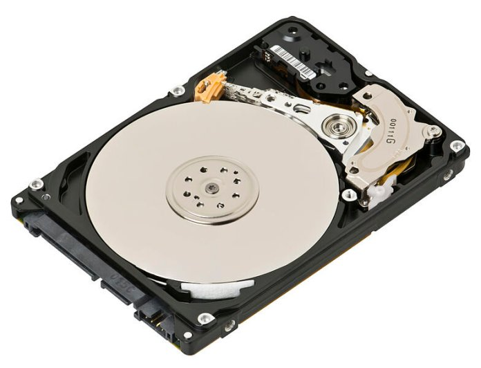 """A 2.5"""" hard drive that has been opened, exposing its inner workings. This is the current method of storage in PCs, this is being improved upon by the computer memory research.  Photo by    Evan-Amos"""