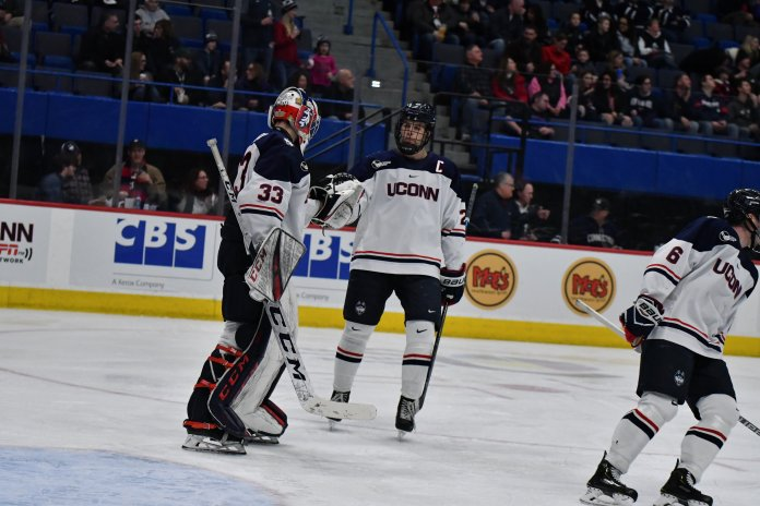UConn beats UNH 7-4 in the Xl Center Saturday afternoon. Alexander Payusov and Jachym Kondelik each scored two goals, leading the Huskies to decisively win both games against the Wildcats.   Photo by Kevin Lindstrom/The Daily Campus