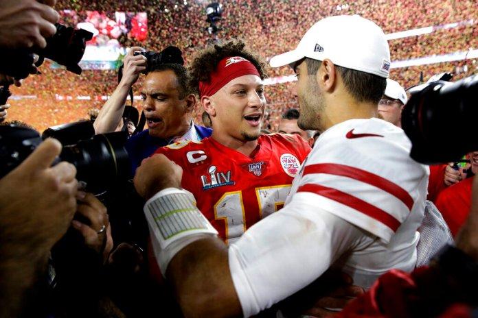Kansas City Chiefs quarterback Patrick Mahomes, left, greets San Francisco 49ers quarterback Jimmy Garoppolo after the NFL Super Bowl football game Sunday, in Miami. The Kansas City Chiefs won 31-20.  Photo courtesy of Patrick Semansky/AP Photo
