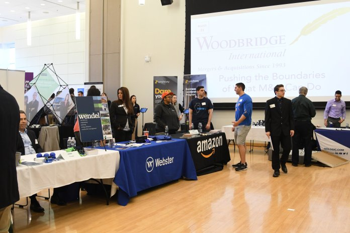Over 70 employers showed up at last year in the Student Union for the Internship Co-op Fair today. Students had the chance to talk to companies like United Technology or Amazon in hopes of landing an internship for the summer.   Photo by Charlotte Lao/The Daily Campus
