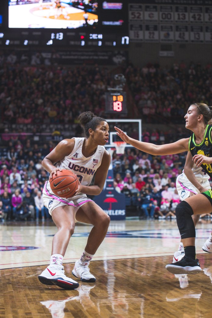 Megan Walker went 3-16 in the loss against No. 3 Oregon. This was the Huskies largest loss in Gampel Pavilion in UConn's history.  Photo by Charlotte Lao / The Daily Campus