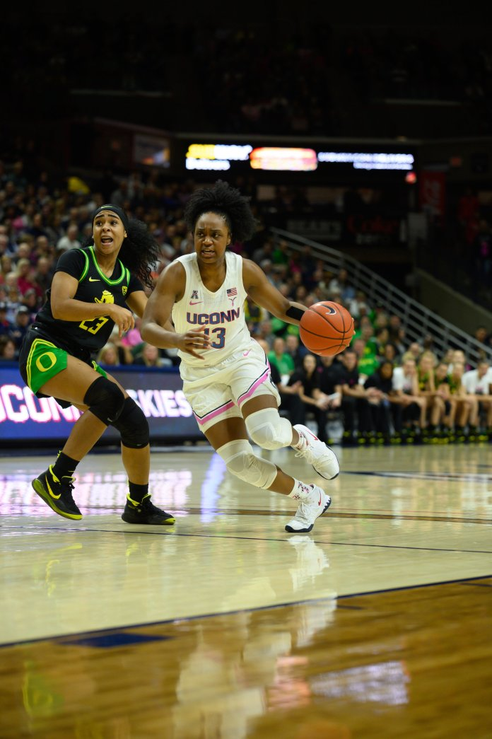 The UConn women's basketball team was defeated by the Oregon Ducks 74-56 in Gampel Pavilion. With a 39.3% shooting rate, the Huskies struggled to keep up with the Ducks.  Photo by Charlotte Lao, Photo Editor/The Daily Campus