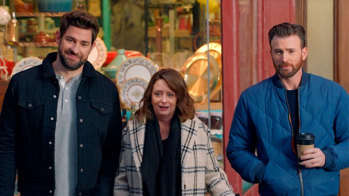John Krasinski, Rachel Dratch and Chris Evans in a scene from the company's 2020 Super Bowl NFL football spot. The automaker pokes fun at Boston accents with a 60-second ad in the second quarter that uses Boston-affiliated celebrities including actor Chris Evans, John Krasinski, Saturday Night Live alum Rachel Dratch and Boston Red Sox David Ortiz.  Photo courtesy of Hyundai Motor America via AP Photo