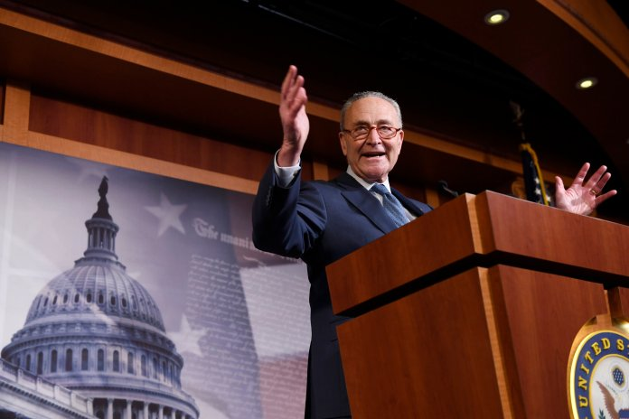 Senate Minority Leader Sen. Chuck Schumer of N.Y., speaks during a news conference on Capitol Hill in Washington, Wednesday, Feb. 5, 2020, following a vote in the Senate to acquit President Donald Trump on both articles of impeachment. (AP Photo/Susan Walsh)