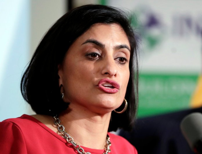 Seema Verma, administrator of the Centers for Medicare and Medicaid Services, speaks during a news conference in Newark, N.JIn this Nov. 29, 2017 file photo, Seema Verma, administrator of the Centers for Medicare and Medicaid Services, speaks during a news conference in Newark, N.J. Governors of both parties are warning that a little-noticed regulation proposed by the Trump administration could lead to big cuts in Medicaid, restricting their ability to pay for health care for low-income Americans. (AP Photo/Julio Cortez)