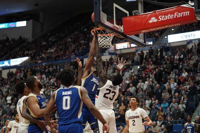 The UConn men's basketball team lost against Tulsa on Sunday after forcing an overtime but losing by 4 point difference with a final score of 75-79.   Photo by Eric Wang/The Daily Campus