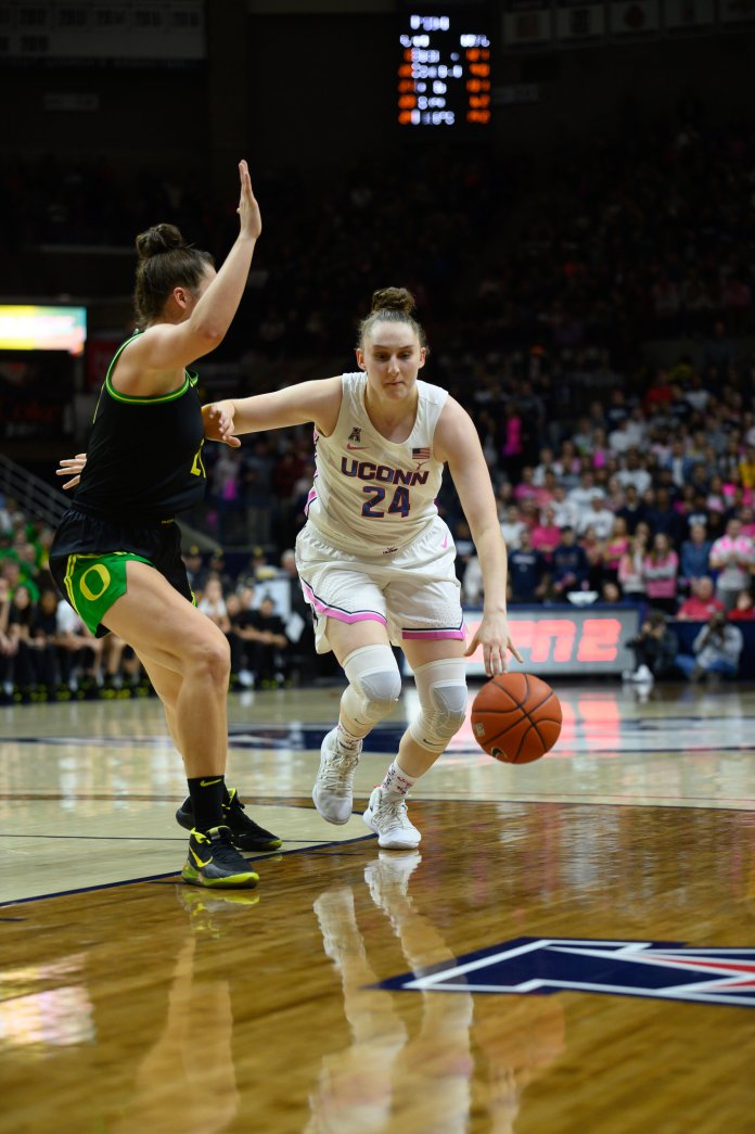 The Women's basketball team was defeated by the Oregon Ducks on Feb 3, 2020 in Gampel Pavilion 74-56. With a 39.3% shooting rate, the Huskies struggled to keep up with the Ducks.   Photo by Charlotte Lao/The Daily Campus
