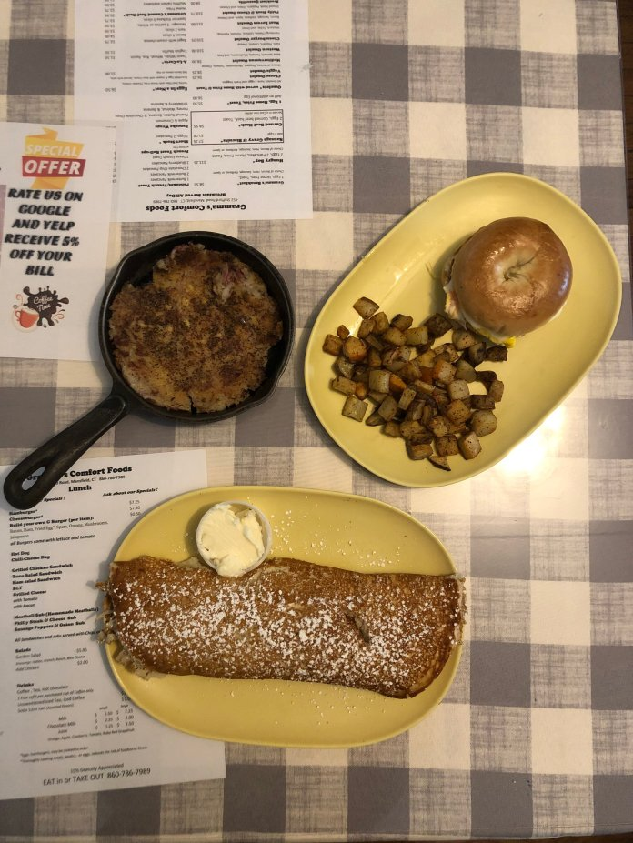 On the menu at Gramma's Comfort Foods is homemade corned beef hash, egg and cheese bagel sandwiches, potatoes and a rolled pancake.   Photo courtesy of author