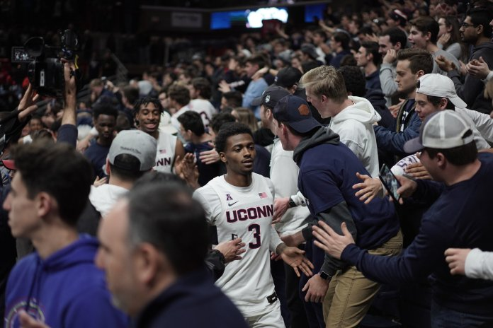 The men's basketball team celebrated Gampel's 30th anniversary with a big win against Cincinnati. The Huskies were led by freshman James Bouknight who scored a career-high 23 points.  Photo by Eric Wang / The Daily Campus.