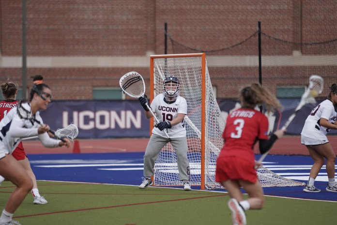 The UConn women's lacrosse team opened their season with a win against Fairfield University with a score of 19-12. Midfielder Sydney Watson lead the team scoring six out of 10 goals. Their next home game at the Sherman Family Complex is on Feb. 21 against UMass Lowell.  Photo by Eric Wang/The Daily Campus