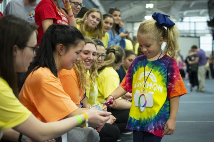 HuskyTHON participants last year interact with a young hero. This year's Day of Strength, a campaign to raise funds for Connecticut Children's Medical Center in 24 hours, broke records and surpassed goals.  File Photo/The Daily Campus
