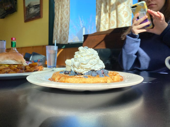 Herman's waffle was a pleasant surprise. Piled on top of the crisp waffle were blueberries and whipped cream.  Photo by Peter Fenteany/The Daily Campus