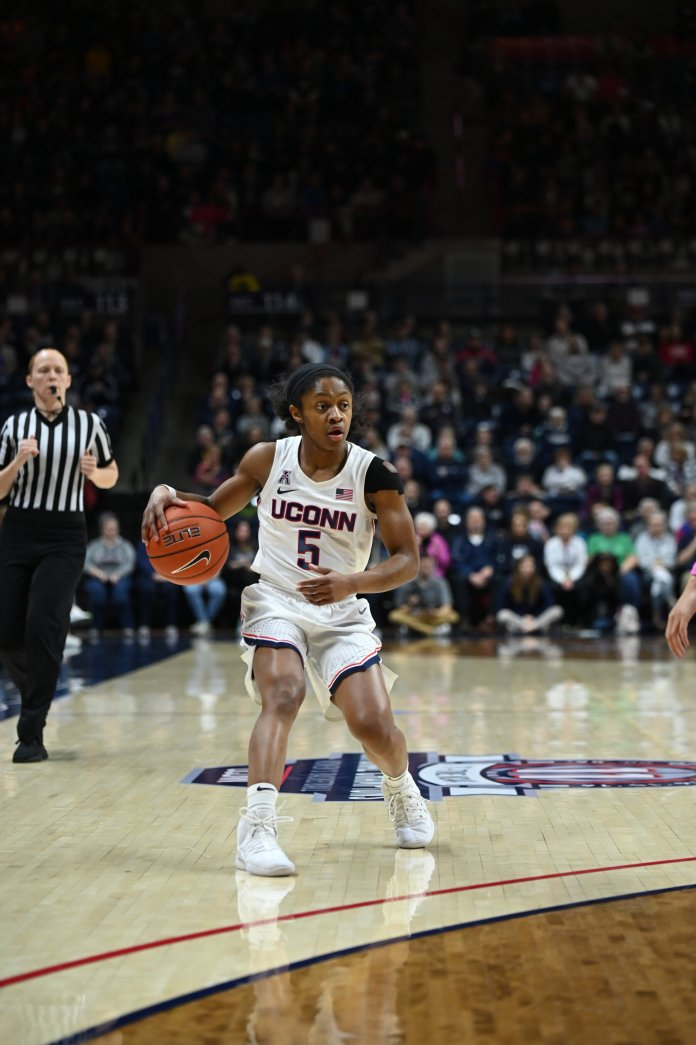 While smaller players like Crystal Dangerfield and Christyn Williams struggled, Olivia Nelson-Ododa and Aubrey Griffin both had big games.  Photo by Kevin Lindstrom/The Daily Campus.