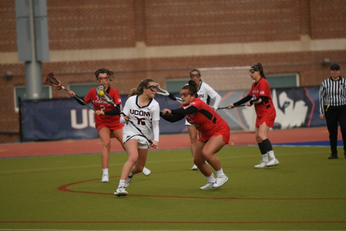 UConn women's lacrosse lost this weekend in a matchup against James Madison. After their win against Fairfield U last week, this makes them 1-1 on the season.  Photo by Erin Knapp/The Daily Campus.