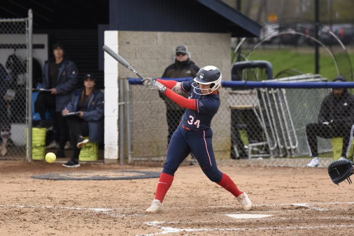 UConn softball swept the series this weekend, winning all five games and extending their streak to seven. They are now 8-2 on the season.  Photo by Brandon Barzola/The Daily Campus.