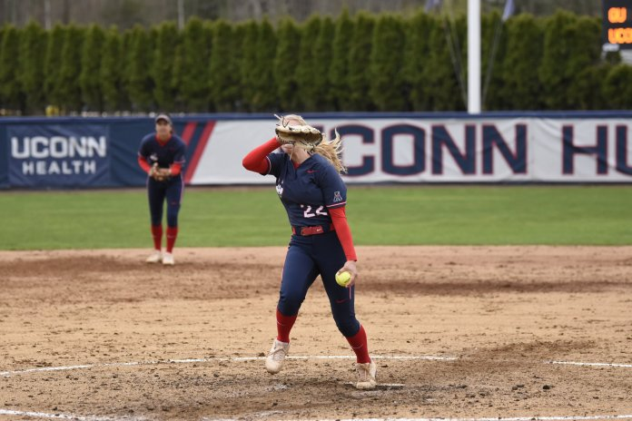 The Huskies defense was incredible this weekend, allowing just eight runs in their five games played. They completed two shutouts including one no-hitter over the weekend.  Photo by Brandon Barzola/The Daily Campus.