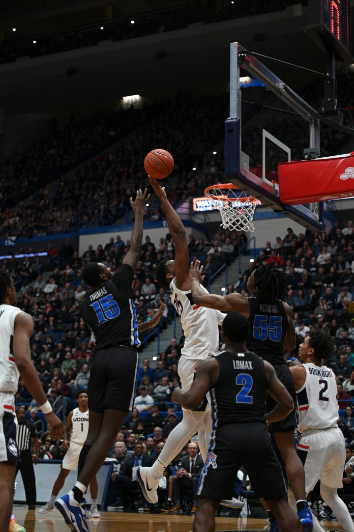 It was Carlton and Whaley who stepped up when Akok went down. Carlton grabbed a season-high 13 rebounds while Whaley blocked a career-high six shots.  Photo by Maggie Chafouleas/The Daily Campus.