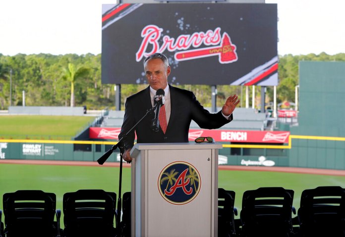 MLB Commissioner Rob Manfred takes questions about the Houston Astros during a news conference at the Atlanta Braves' spring training facility Sunday.  Photo courtesy of Curtis Compton/Atlanta Journal-Constitution via AP