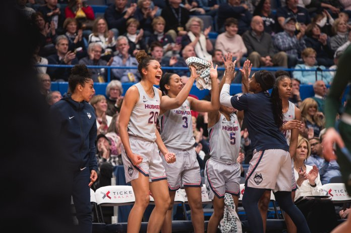 The UConn women's basketball team crushes Tulane 74-31 at the XL Center on Wednesday night. Their final game at Gampel Pavilion this season is this Saturday against UCF.  Photo by Charlotte Lao/The Daily Campus