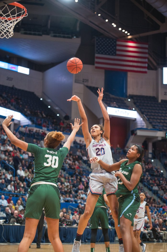 The UConn women's basketball team wiped the floor with Tulane 74-31 on Wednesday night. Olivia Nelson-Ododa finished with a double-double as she dropped 10 points and grabbed 11 boards.  Photo by Charlotte Lao/The Daily Campus