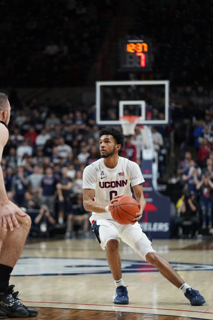The Huskies beat USF 78-71 this weekend in Gampel Pavilion. Jalen Gaffney had another solid game starting at point guard, finishing with 10 points and three assists.  Photo by Eric Wang/The Daily Campus.