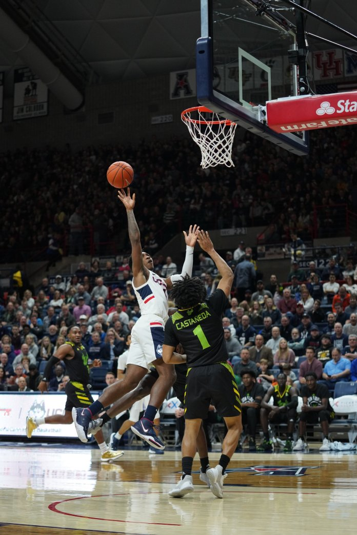Senior Christian Vital led all scorers with 24 points in UConn's victory. He has been a steadying force with the Huskies dealing with the plethora of injuries they've faced.  Photo by Eric Wang/The Daily Campus.