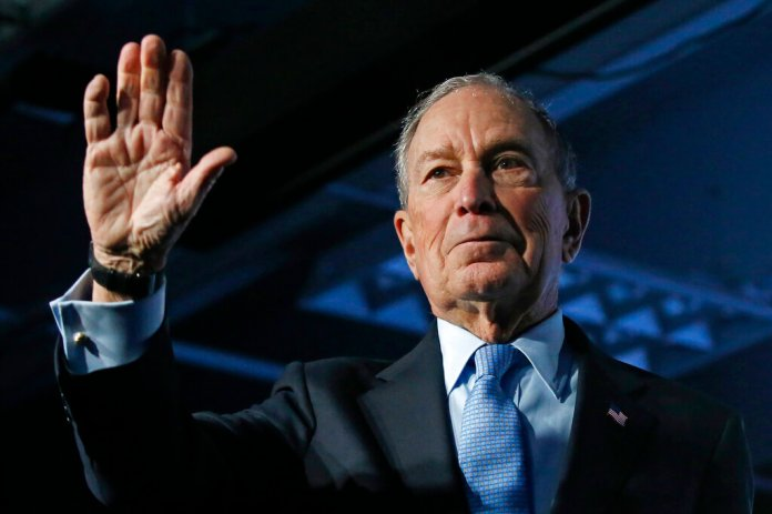 Democratic presidential candidate and former New York City Mayor Mike Bloomberg waves after speaking at a campaign event, Thursday, Feb. 20, 2020, in Salt Lake City.  Photo by Rick Bowmer/AP