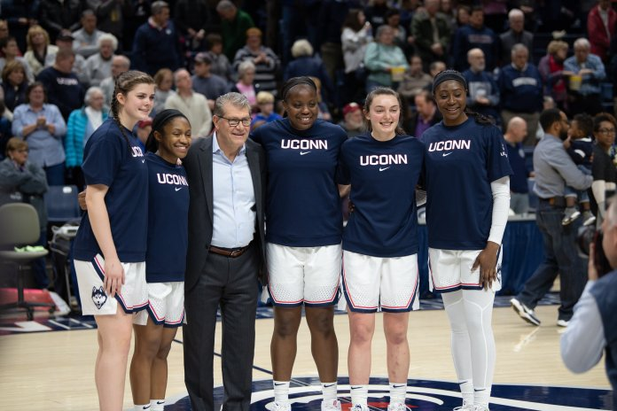 Geno Auriemma started all five of his seniors in their final home game of the year. Behind Dangerfield, Kyla Irwin finished the game with two points, two rebounds and an assist.  Photo by Charlotte Lao/The Daily Campus.