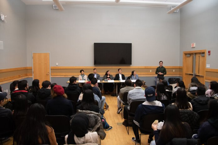 This Monday afternoon, AsACC hosted a panel discussion led by Pan Asian Council (PAC) speaker, Carolyn Ikari, of the CT Asian Pacific American Bar Association (CAPABA). The speakers discussed their experience becoming Asian-Americans lawyers in Connecticut.  Photo by Avery Bikerman / The Daily Campus