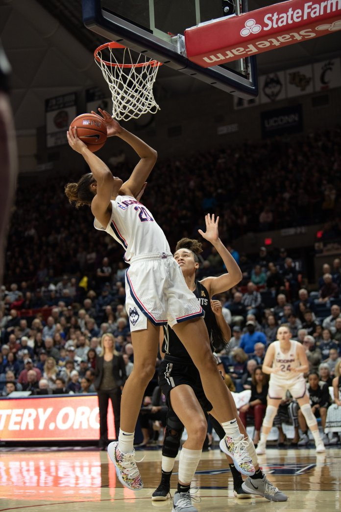 The UConn women's basketball team came up big once again with a 92-40 win over Houston. Olivia Nelson-Ododa totaled an impressive 14 points, nine rebounds and five assists in the victory.  Photo by Charlotte Lao/The Daily Campus.