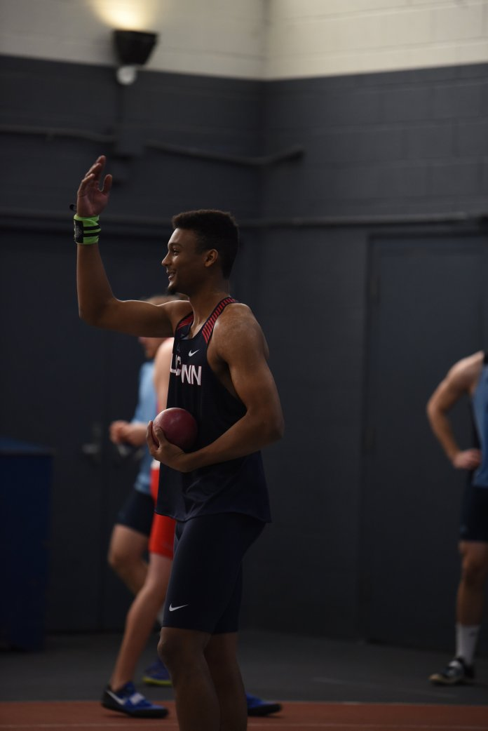 UConn's track and field teams competed in the American Athletic Conference Championships this weekend. The men's team had strong performances from Eric Van Der Els and freshman David Ajama.  Photo by Charlotte Lao/The Daily Campus.