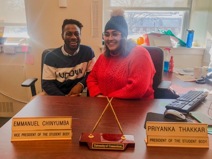 USG Vice President Emmanuel Chinyumba, left, and President Priyanka Thakkar, right, pose for a photo. Both agree that they had successful moments during their term with Chinyumba expressing their willingness to start new initiatives despite a new administration coming in.  Photo courtesy of author