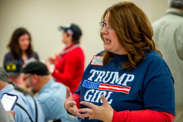 Terri LaPoint discusses Alabama's US Senatorial campaign at a Jefferson County GOP candidate pancake breakfast, Saturday, Feb. 29, 2020, in Birmingham, Ala.  Photo by Vasha Hunt/AP