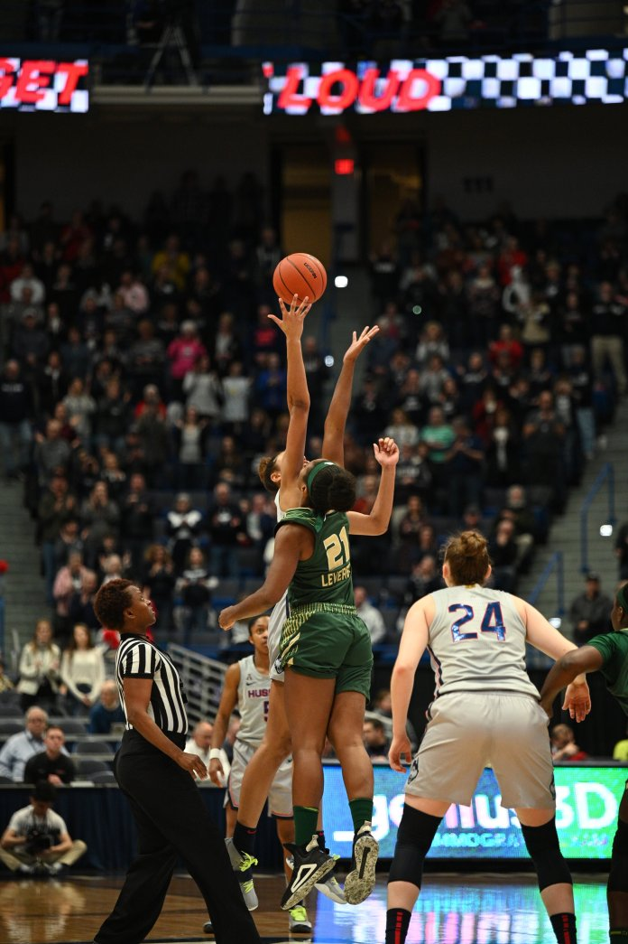 UConn beats USF 80-39 in the XL Center Monday evening. Aubrey Griffin made all 3 of her free throws and 5 of 6 field goals.  Photo by Kevin Lindstrom/The Daily Campus