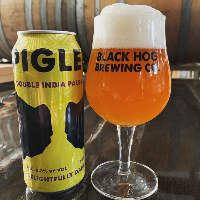 A photo of a Double India Pale Ale from Black Hog Brewing Company in Oxford.  @blackhogbeer