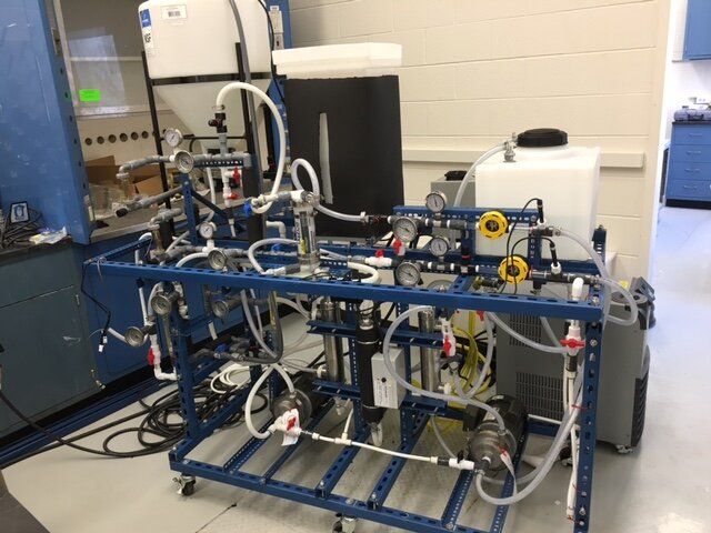 A membrane distillation element testing rig used in the lab. The McCutcheon Lab researches how to create the most efficient membranes for desalination.  Photo courtesy of The McCutcheon Lab    website   .