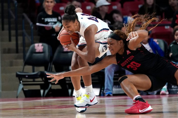 Aubrey Griffin came up big in this weekend's AAC Tournament games. She provided a much needed spark off the bench while racking up her first career double double at UConn with 15 points and 16 rebounds in the win over Temple.  Photo by David J. Phillip/AP Photo.