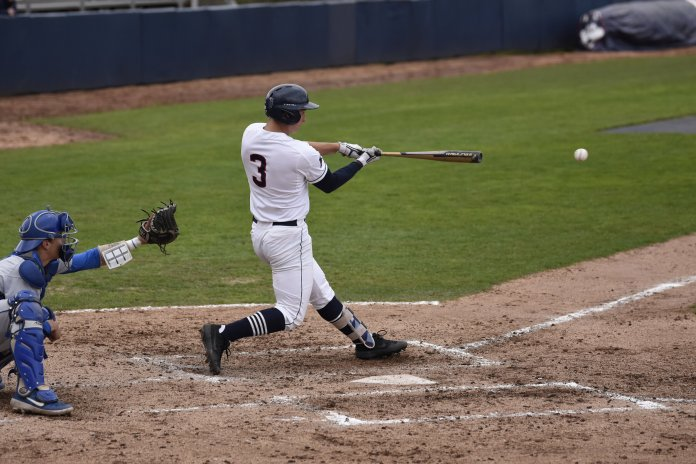UConn baseball's Kyler Fedko hits a ball versus Central Connecticut last season. Fedko and co. have been on a tear, winning their last five games.  Photo by Brandon Barzola/The Daily Campus
